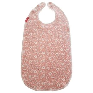 Bib for eating Tiny flowers pale red Liberty